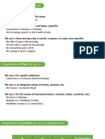 Basic Prepositions of Time and Place