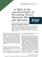 Rol Del Anestesiologo en Morbilidad y Mortalidad Materna