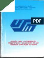 USM Normas Para La Elaboración Presentación y Evaluación de Los Trabajos Especiales de Grado