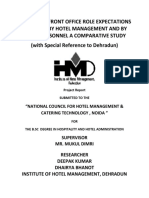 A Study on Front Office Role Expectations as Defind by Hotel Management and by Front Personnel a Comparative Study