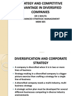 Mbm 805 Pp9 Advanced Strategic Management Strategy and Competitive Advantage in Diversified Companies