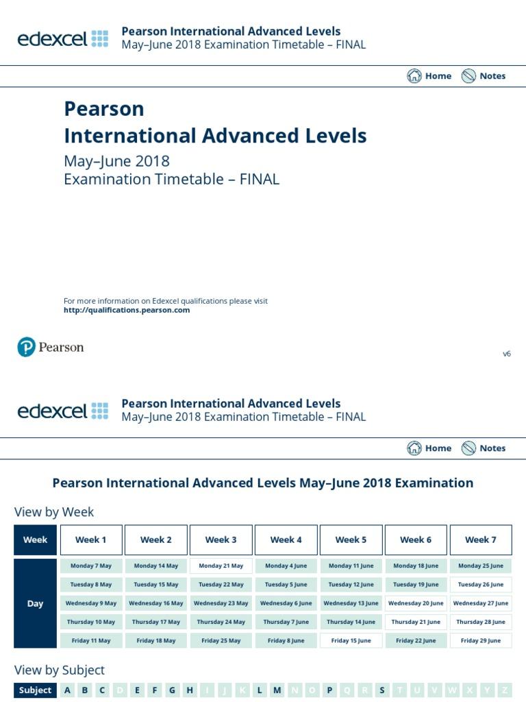 IAL Timetable 2018 International