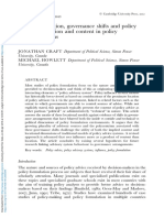 Policy Formulation Governance Shifts and Policy Influence Location and Content in Policy Advisory Systems