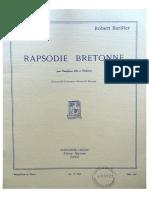 Rapsodie Bretonne, Pour Saxophone Alto Et Piano, R.bariller