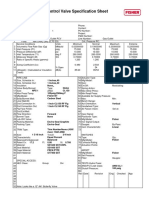 Control Valve Specification Sheet - Gas Outlet Valve