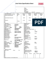 Control Valve Specification Sheet - Oil Outlet Valve