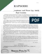 Rapsodie, Paul Creston, Pour Saxophone Alto Et Piano