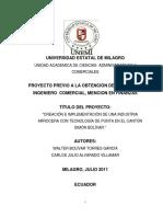 Proyecto de Tesis Creacion e Implementacion de Ina Industria Arrocera Con Tecnologia de Punta en