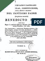 Coleccion en Latin y Castellano de Las Bulas, Etc de Benedicto XIV 01