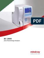 Hematology Analyzer Mindray BC 2800