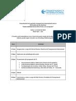 """Programa - Presentación de la posición Transparencia Internacional ante la VIII Cumbre de las Américas """"Gobernabilidad democrática frente a la Corrupción"""""""