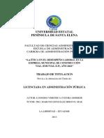 LA ÉTICA EN EL DESEMPEÑO LABORAL EN LA EMPRESA MUNICIPAL DE CONSTRUCCIÓN VIAL (EMUVIAL E.P), AÑO 2013