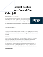 US Pathologist Doubts American's 'Suicide' in Cebu Jail