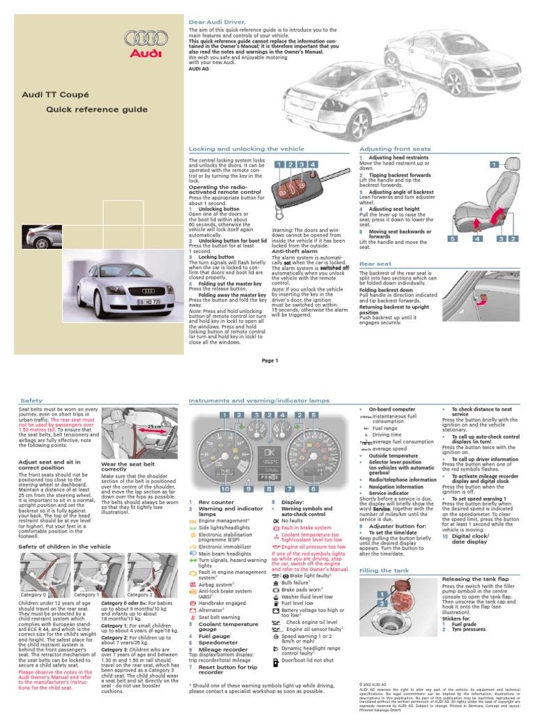 tt coupe quick reference guide pdf manual transmission automatic rh es scribd com Audi TT Interior 2015 Audi TT Manual Transmission