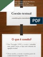 Coesão Textual - Coesão Referencial e Sequencial