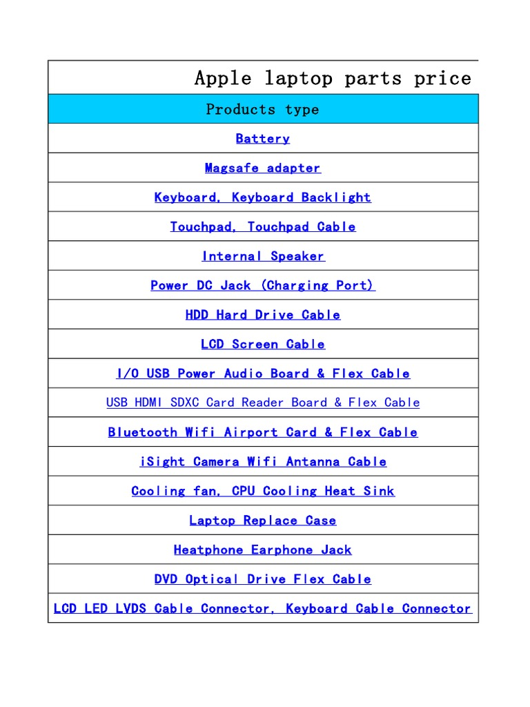 Apple Parts Price List-20180123   Computer Companies Of The