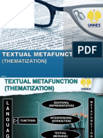 Group 2 (Discourse Studies) Textual Metafunction (Thematization)