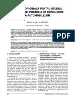 METODĂ ORIGINALĂ PENTRU STUDIUL ERGONOMIEI POSTULUI DE CONDUCERE  A AUTOMOBILELOR