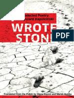 Kapuściński, Ryszard - I Wrote Stone (Biblioasis, 2007)