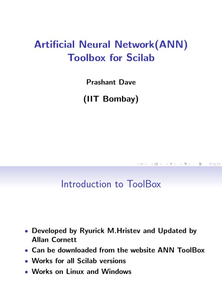 Artificial Neural Network (ANN) Toolbox for Scilab