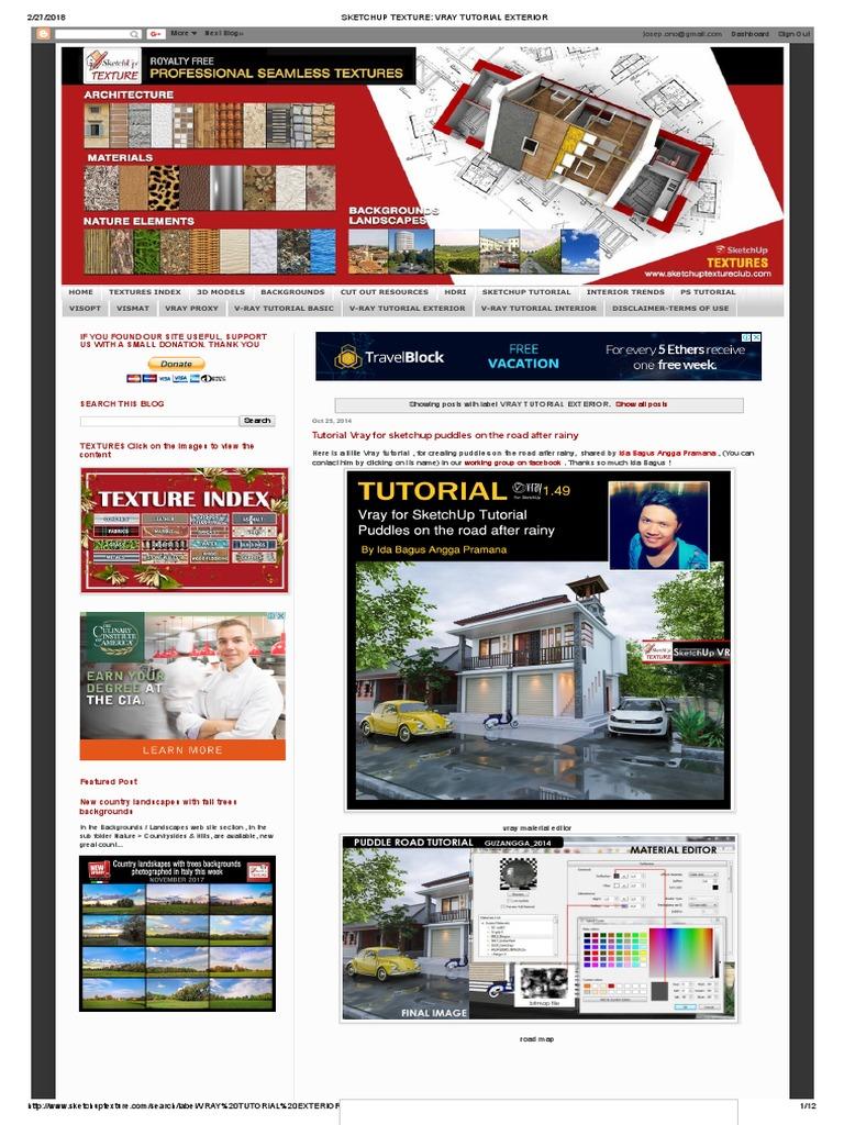 SKETCHUP TEXTURE_ VRAY TUTORIAL EXTERIOR pdf | Sketch Up | 3