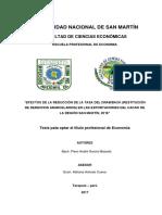 Efectos de la reducción de la tasa de drawback en las exportaciones del cacao de la región San Martin 2016