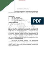 SC Collegium Resolution for Gauhati HC