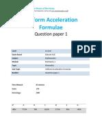 11.1- Uniform Acceleration Formulae - Edexcel a Level Maths Mechanics 1 Qp