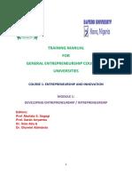 Module 1. Developing Entrepreneurship