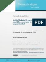 VENTURELLI. Julio Mafud. El Sociologo Del Sentido Común de La Argentinidad