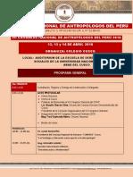 Programa General Vii Congreso de Antropologos Del Perú - 2018.