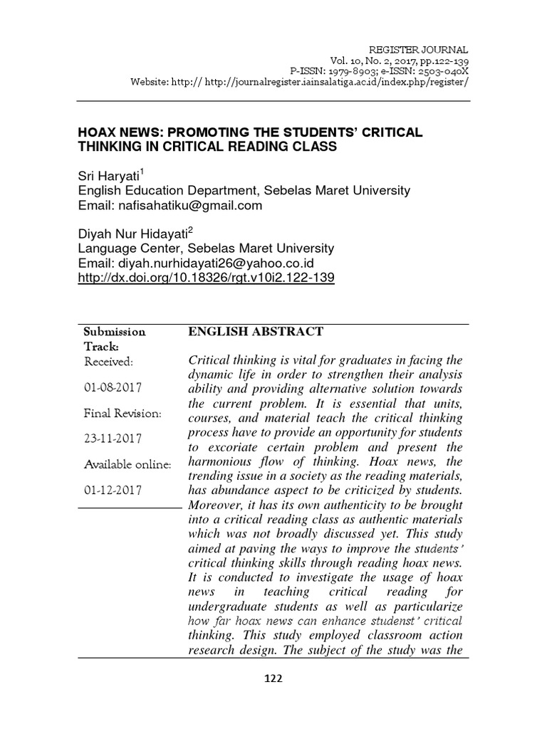 1 hoax news analysis sri haryanti UNS pdf | Critical