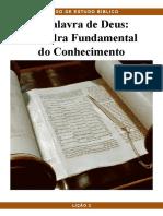Pbc Curso de Estudo Biblico Licao 2 a Palavra de Deus a Pedra Fundamental Do Conhecimento