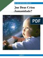 Pbc Curso de Estudo Biblico Licao 3 Por Que Deus Criou a Humanidade