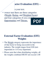 External Factor Evaluation (EFE) – Weight