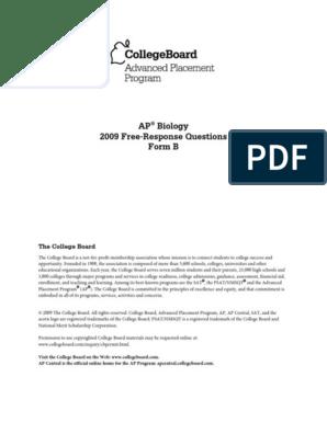 Ap09 Frq Biology Formb | Sexual Reproduction | Earth & Life