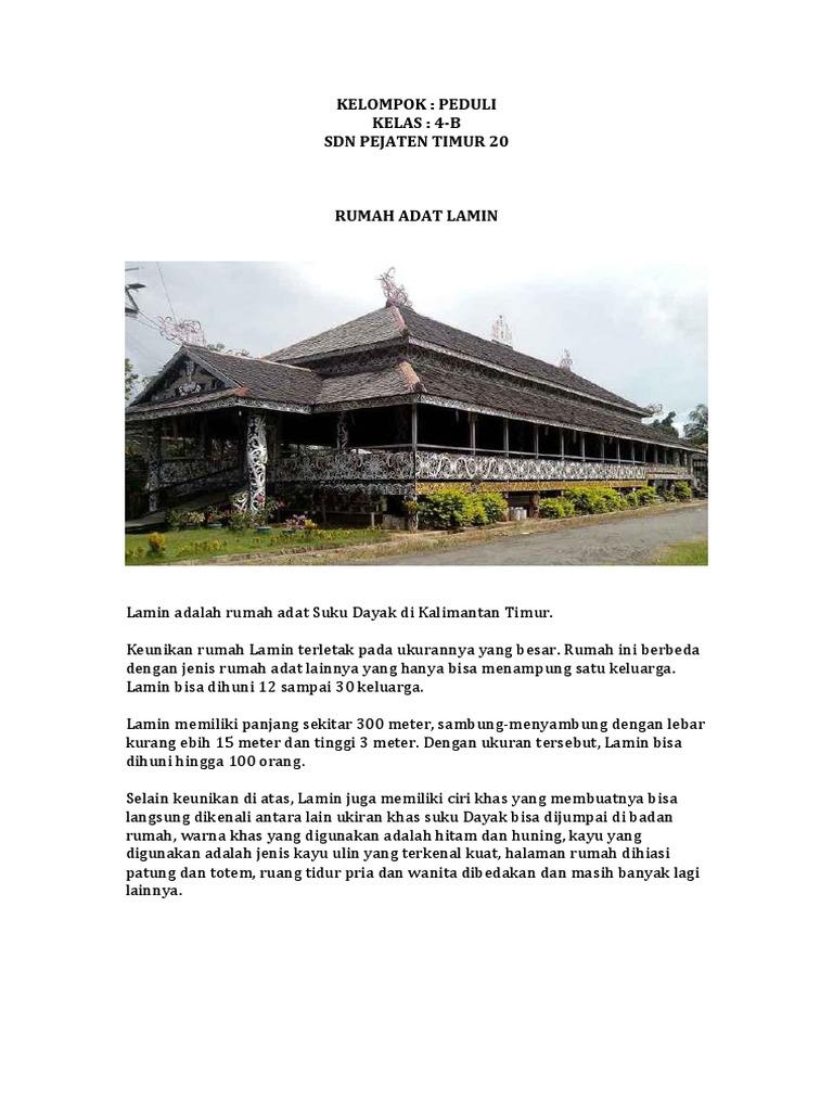 25 Gambar Rumah Adat Lamin Kalimantan Timur Terbaik Koleksi Gambar Rumah Terlengkap