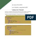 Manejo de Triggers SQL Server