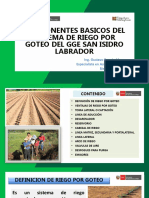 Componentes de SRT Por Goteo GGGE San Isidro Labrador