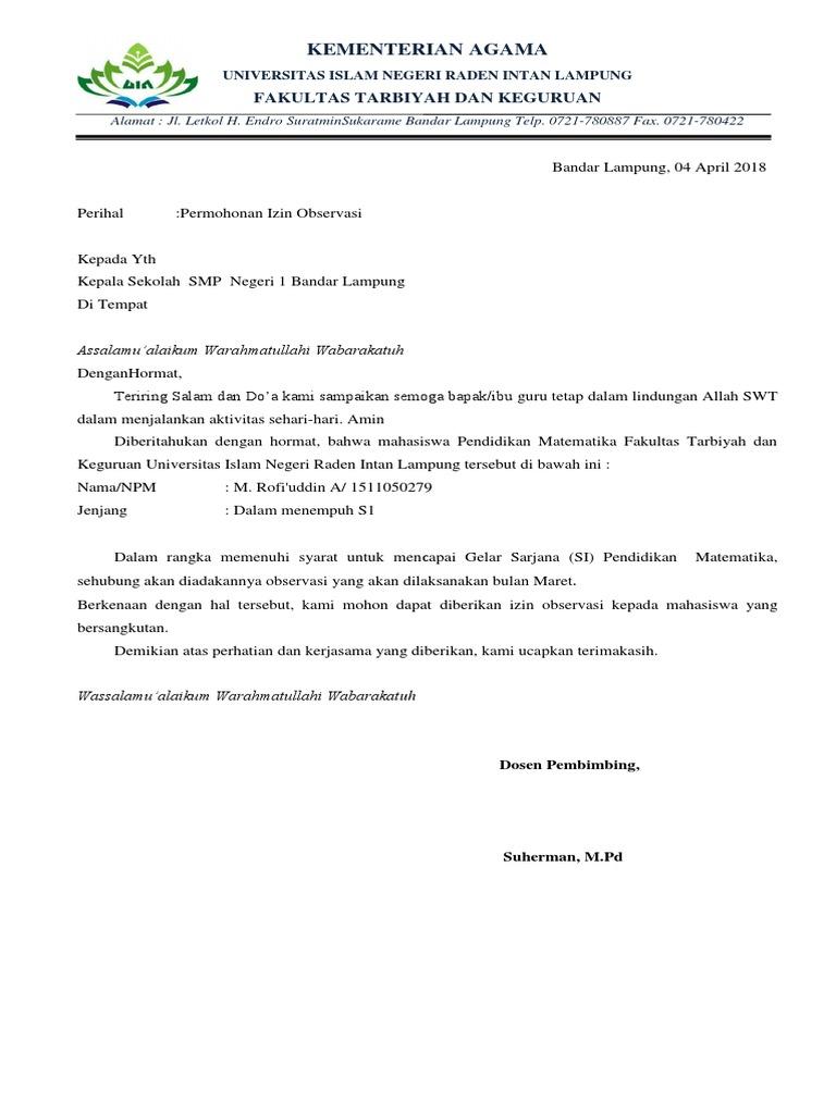 Surat Ijin Observasi