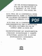 1954 Onvención Para La Protección de Los Bienes Culturales en Caso de Conflicto Armado y Reglamento Para La Aplicación de La Convención 1954