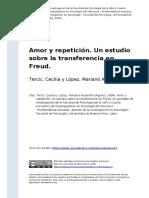 Amor y Repeticion. Un Estudio Sobre La Transferencia en Freud (2008)