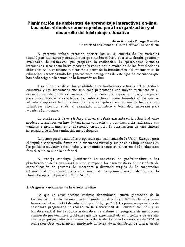 Ortega J. a. Planificacion de Ambientes de Aprendizaje Interactivos ...