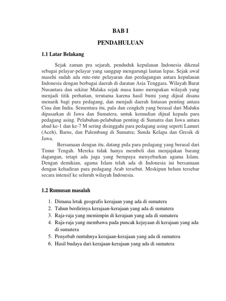 Makalah Agama Islam Penyebaran Islam Di Sumatera