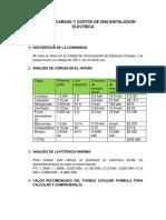Analisis de Cargas y Costos de Una Instalacion Electrica