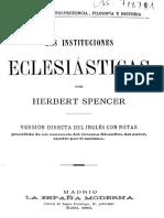 Spencer Herbert Las Instituciones Eclesiasticas 1893