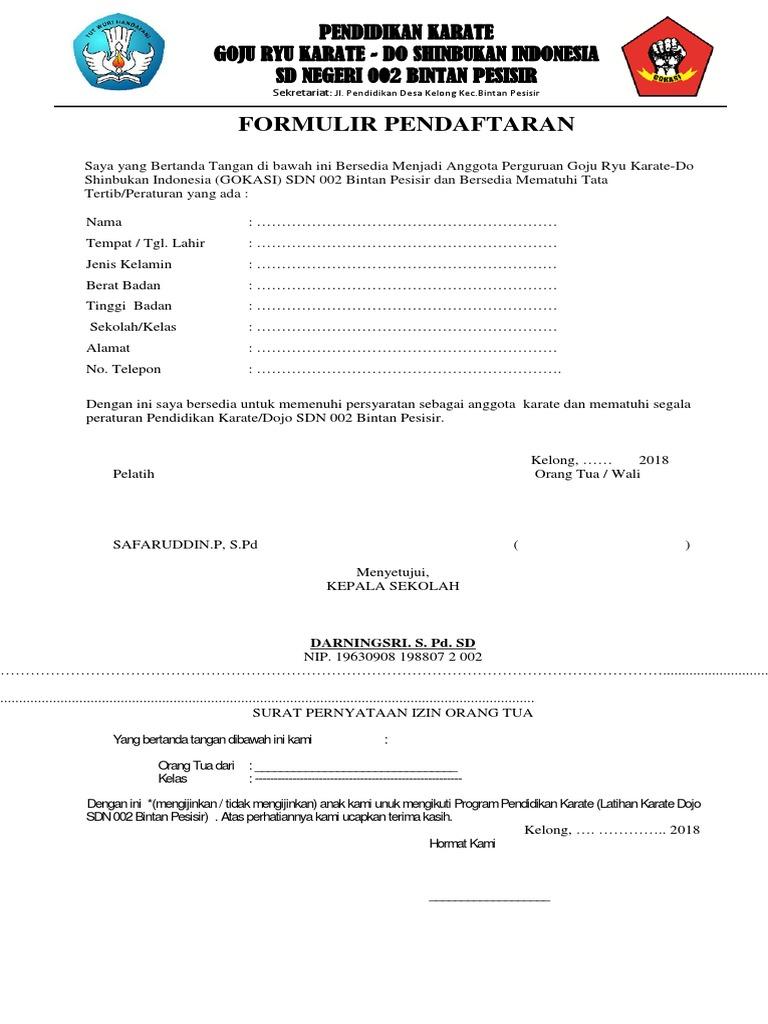 Formulir Pendaftar Gokasi Sdn 002 Bintan Pesisir