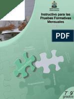 Instructivo Para Las Pruebas Formativas Español 7-9no Grado