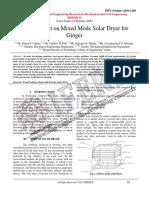 Development on Mixed Mode Solar Dryer for Ginger