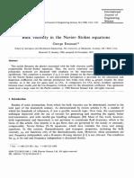 Bulk Viscosity in the Navier-Stokes Equations